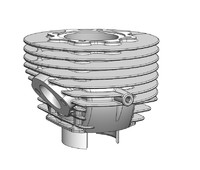 aluminium cylinder piaggio vespa 3d model