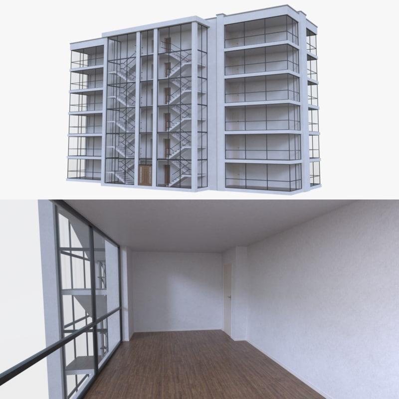 apartment interior buildings 3d fbx