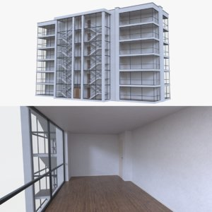 apartment interior buildings 3d fbx