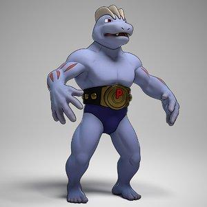 machoke pokemon 3d obj