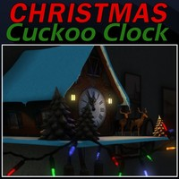 3d model christmas cuckoo clock