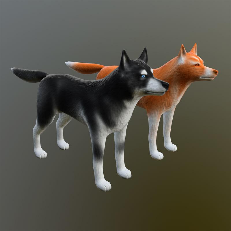 obj siberian husky dog -