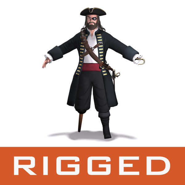 pirate rigged 3d max