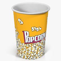cup popcorn 3 3d model
