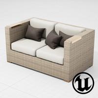 3d model of patio furniture sofa ue4