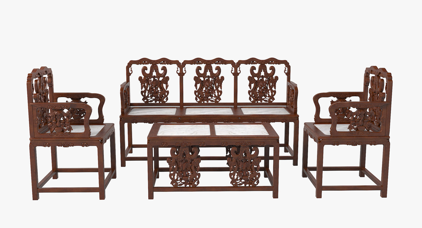 3d max oriental furniture set