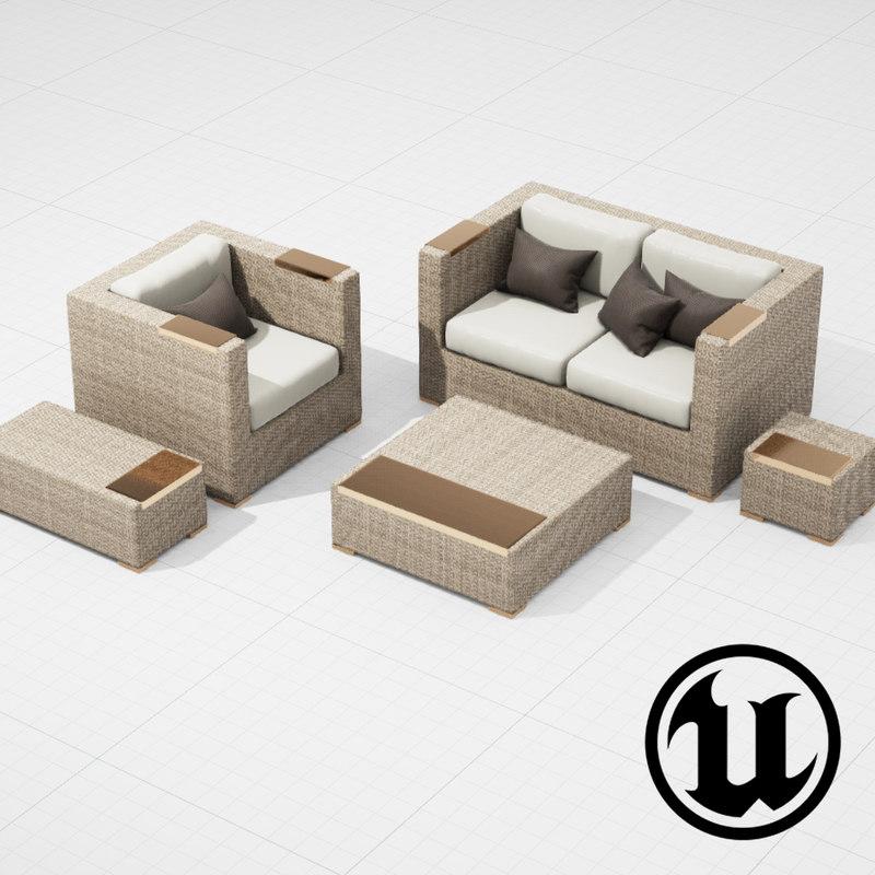 3d model patio furniture ue4