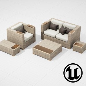 3d model patio furniture ue4