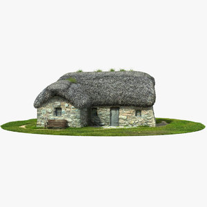3d model medieval stone house