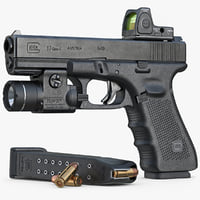 Gun Glock 17 Gen 4, Scope, Flashlight