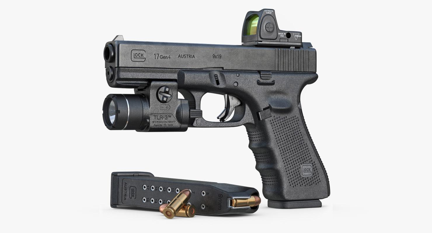 Gun Glock 17 Gen 4, Scope, Flashlight
