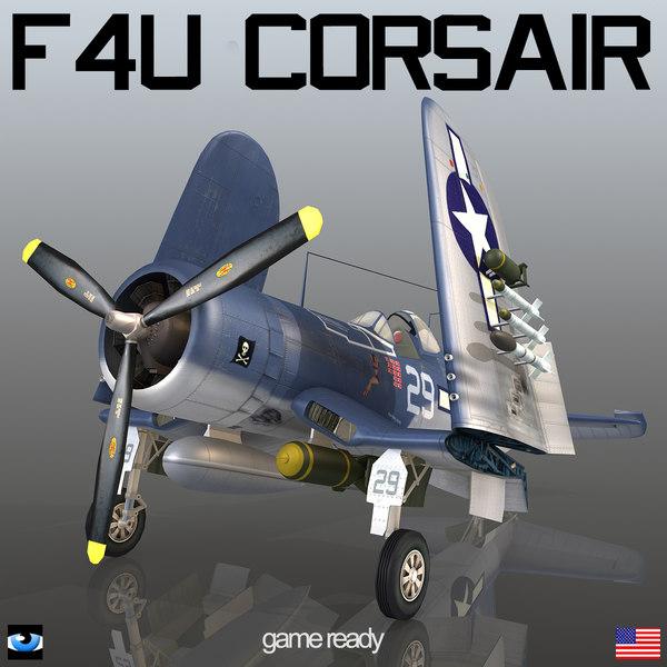 3d vought f4u corsair american model