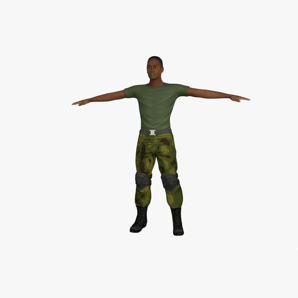 3d c4d soldier rigged