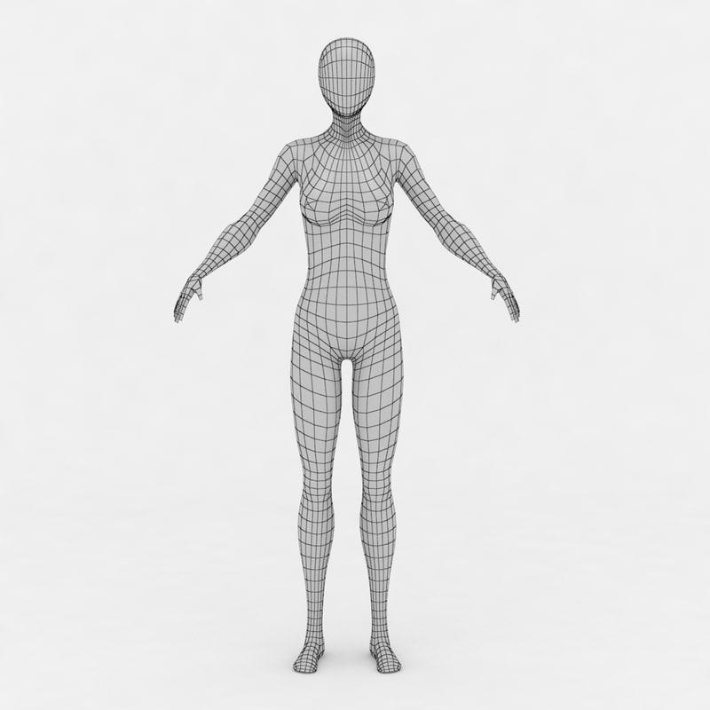 3d female body base mesh model