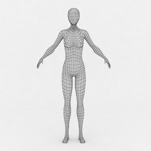 3d female body base mesh model