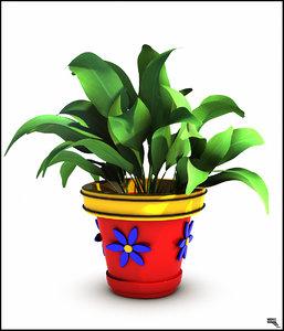 plant cartoon obj