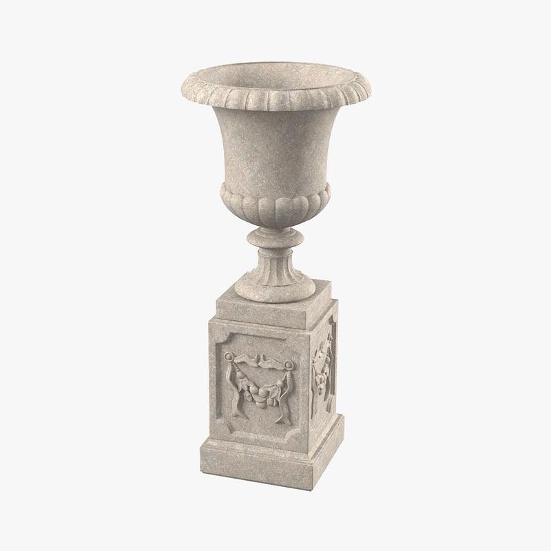 3d large cast stone urn