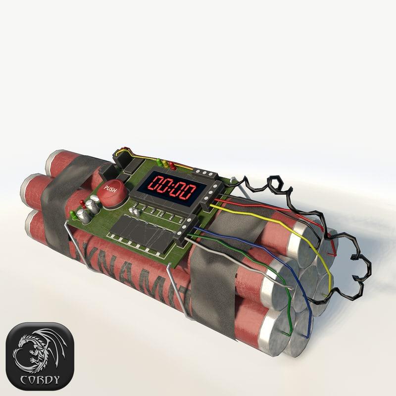 3d dynamite bomb timer model