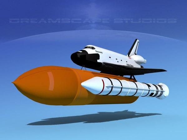 launch space shuttle 3d obj