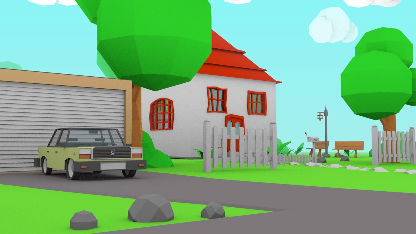 cartoon house toy car 3ds