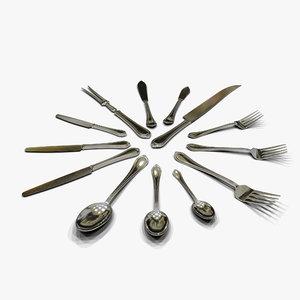 3d max flatware forks knifes spoons