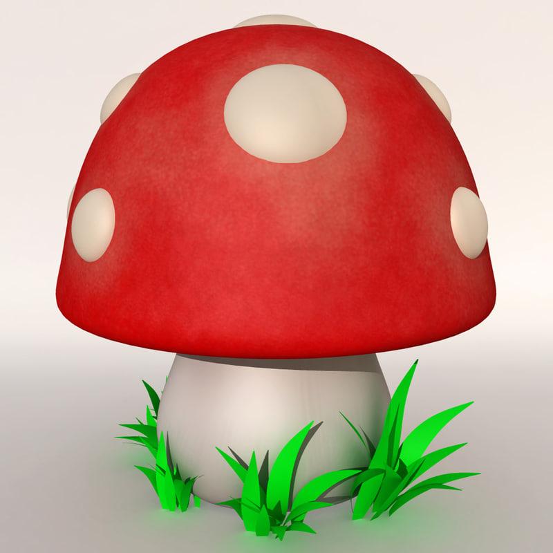 stylized cartoon mushroom 3d model