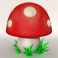 stylized cartoon mushroom 3d model