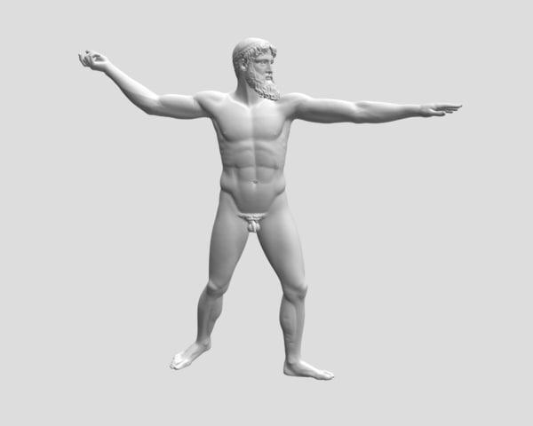 sculpture zeus poseidon artemision obj free