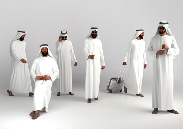 3d arab man traditional dubai