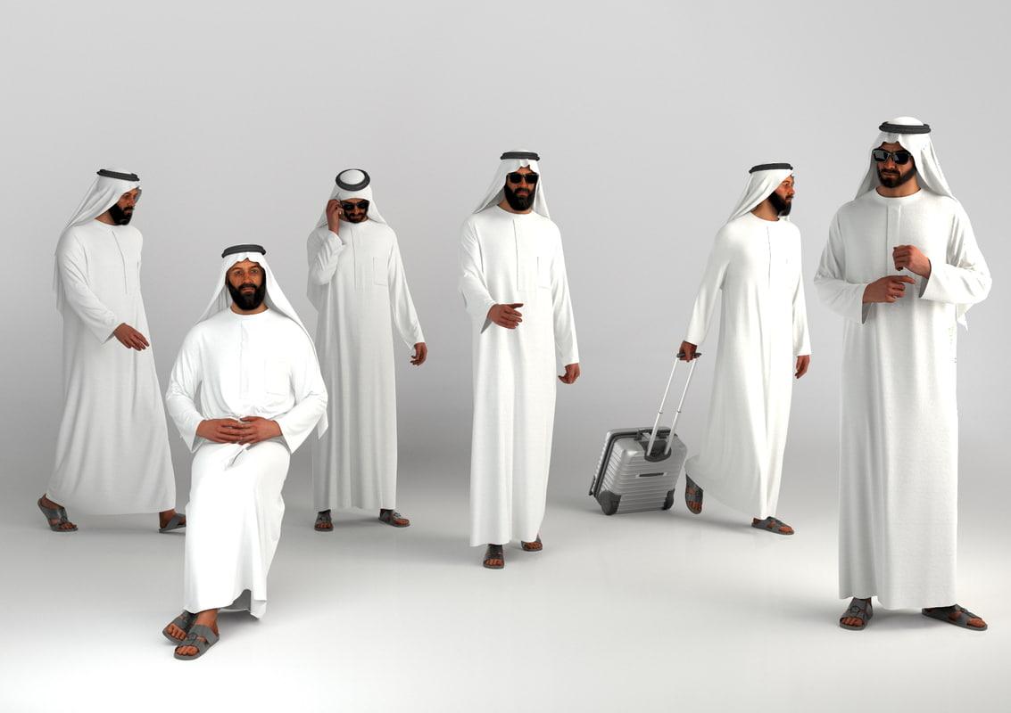 3d arab man traditional dubai