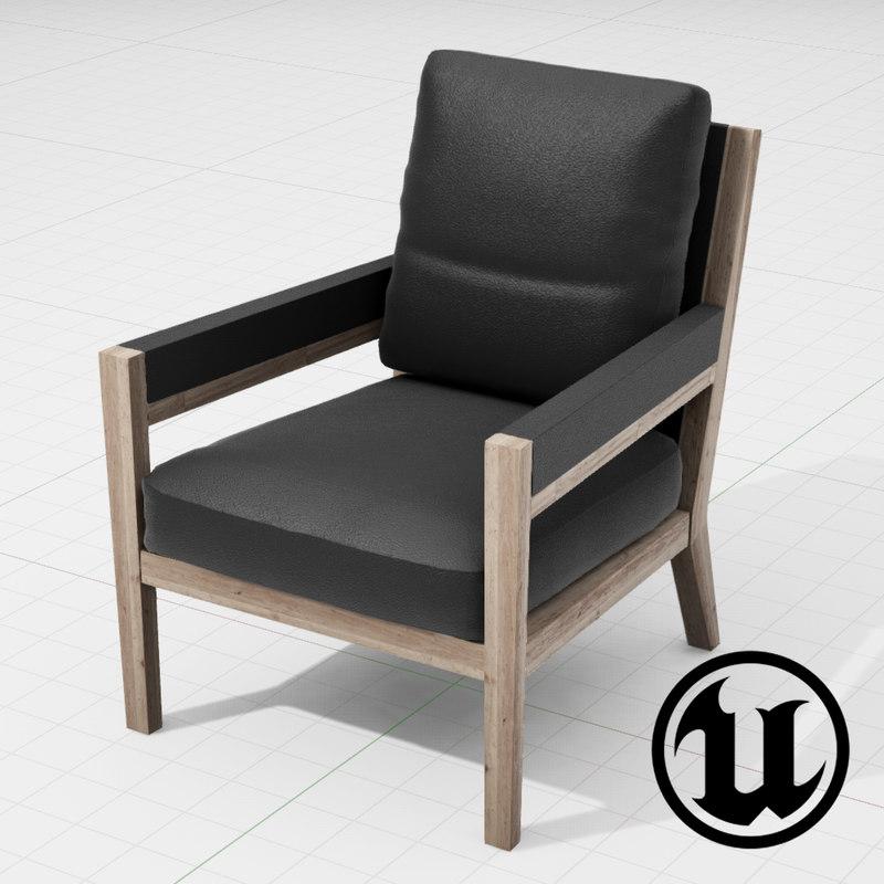 flexform margaret chair ue4 3d model