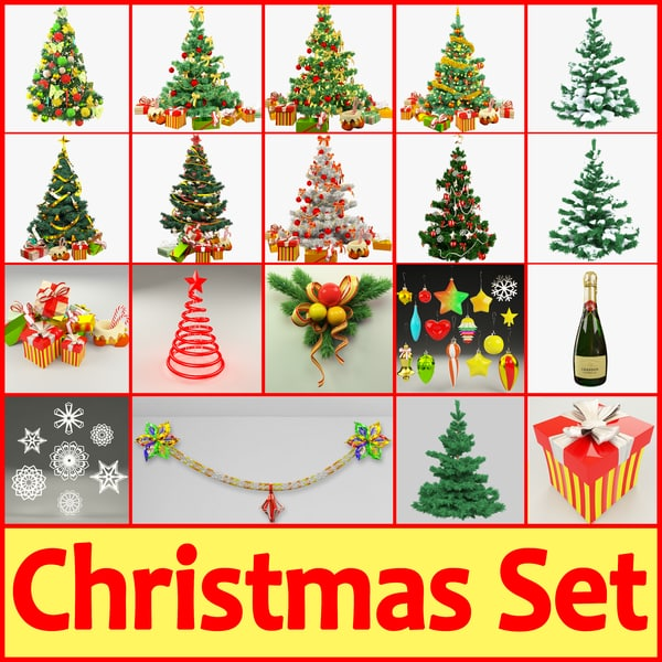 3d model christmas set tree