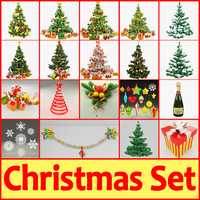 3d model christmas set tree