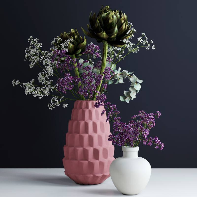 pink white vases flowers plants 3d model