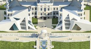 3d model classic building landscape modern