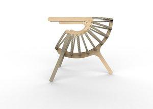 3d shell chair branca model