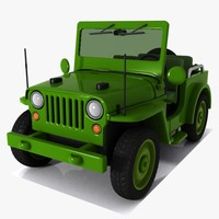 military jeep toon 3d model