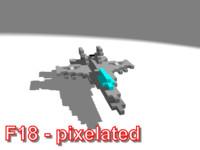 3d model pixelated f18 jet