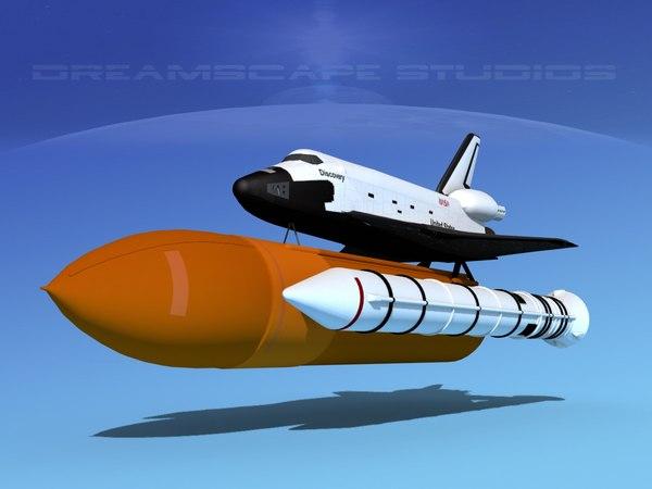 launch space shuttle 3d lwo