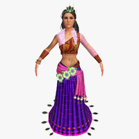 traditional indian woman 3d model