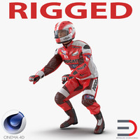 motorcycle rider 2 rigged 3d model