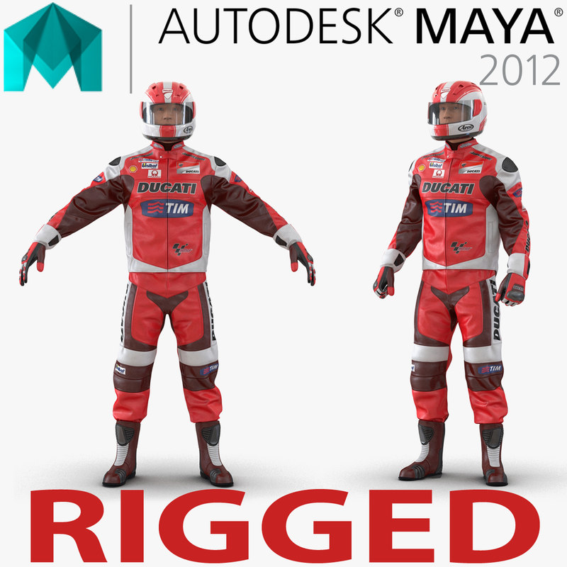 motorcycle rider 2 rigged 3d ma