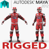 Motorcycle Rider 2 Rigged for Maya