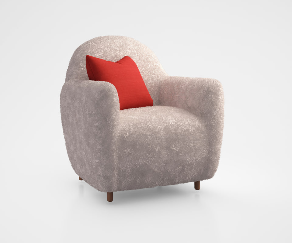 3d model commune shearling chair