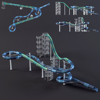 water park slides 3d max