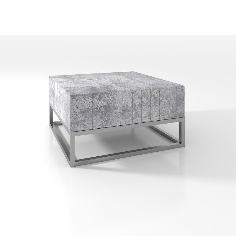 concrete coffee table chrome 3d model