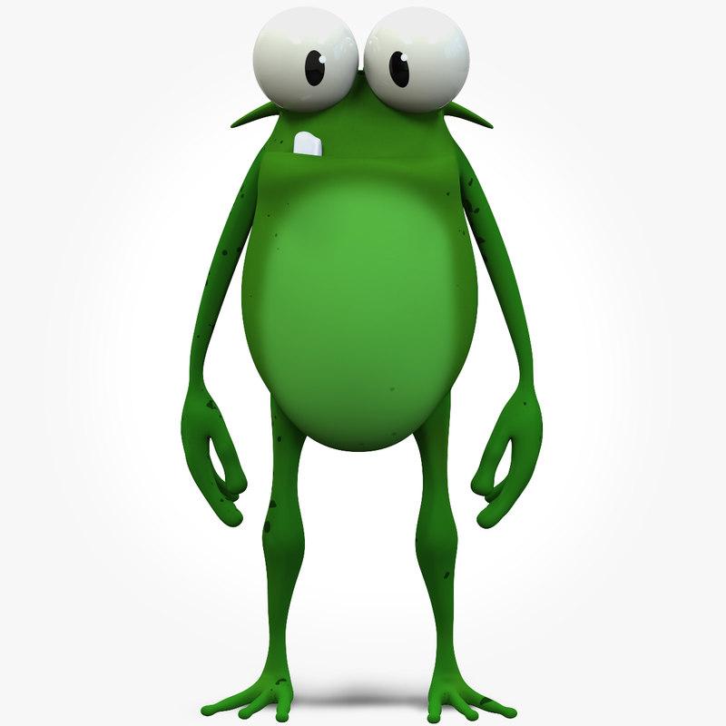 3d foggy frog cartoon