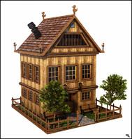 cartoon house toon 3d x