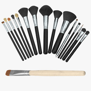 eyeshadow brush makeup set 3d model