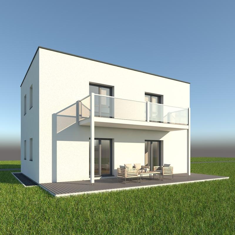 modern single family home 3d model